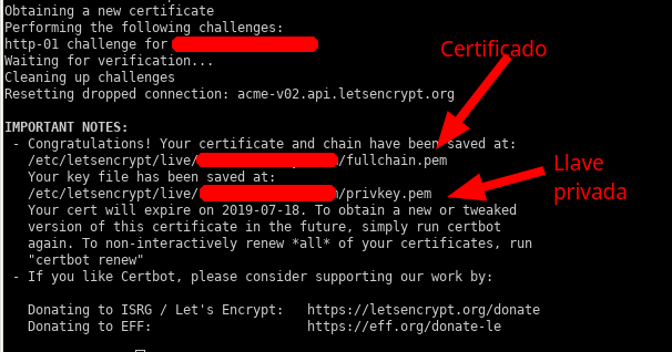 Certbot : certificado SSL generado