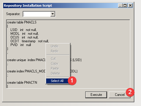 Power Designer : Repository Installación Script