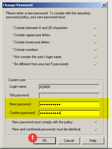 Power Designer : Change repository ADMIN password